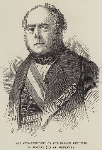 The Vice-President of the French Republic, M Boulay (de la Meurthe). Illustration for The Illustrated London News, 27 January 1849.