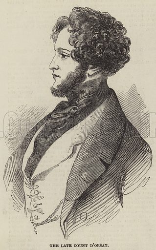 The late Count d'Orsay. Illustration for The Illustrated London News, 14 August 1852.
