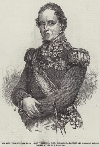 The Right Honourable General Lord Viscount Hardinge, GCB, Commanding-in-Chief Her Majesty's Forces. Illustration for The Illustrated London News, 16 October 1852.