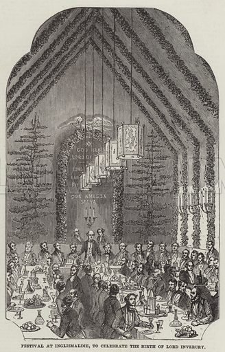 Festival at Inglismaldie, to celebrate the Birth of Lord Inverury. Illustration for The Illustrated London News, 23 October 1852.