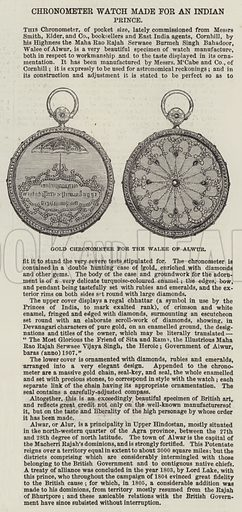 Gold Chronometer for the Walee of Alwur. Illustration for The Illustrated London News, 30 October 1852.