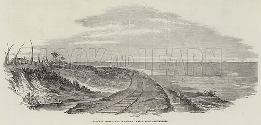 Railway Works, and Temporary Rails, near Alexandria. Illustration for The Illustrated London News, 6 November 1852.