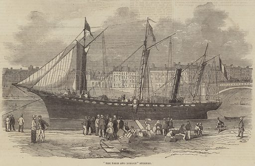 """""""The Paris and London"""" Steamer. Illustration for The Illustrated London News, 11 February 1854."""