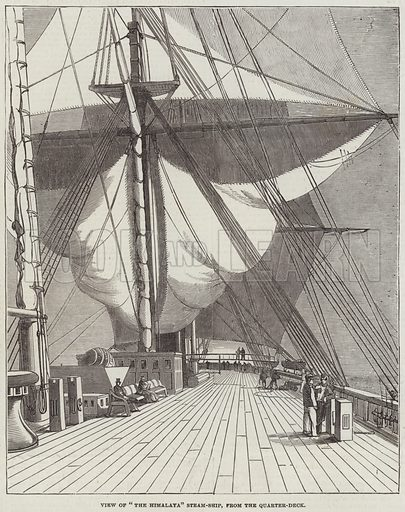 "View of ""The Himalaya"" Steam-Ship, from the Quarter-Deck. Illustration for The Illustrated London News, 18 February 1854."