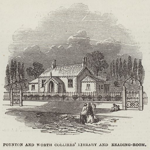 Poynton and Worth Colliers' Library and Reading-Room. Illustration for The Illustrated London News, 10 June 1854.