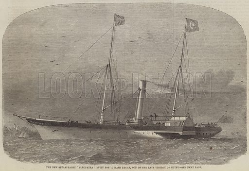"The New Steam-Yacht ""Cleopatra"" built for Il Hami Pacha, Son of the late Viceroy of Egypt. Illustration for The Illustrated London News, 27 November 1858."