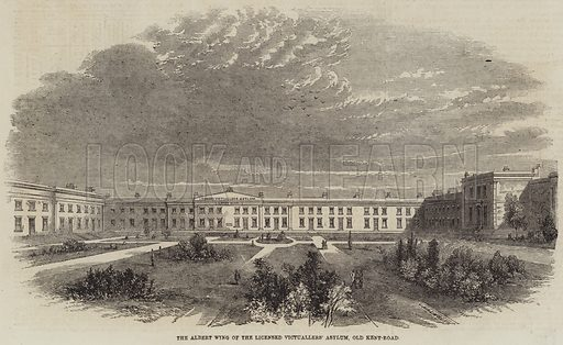 The Albert Wing of the Licensed Victuallers' Asylum, Old Kent-Road. Illustration for The Illustrated London News, 4 December 1858.