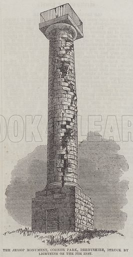 The Jessop Monument, Condor Park, Derbyshire, Struck by Lightning on the 8th inst. Illustration for The Illustrated London News, 27 July 1861.