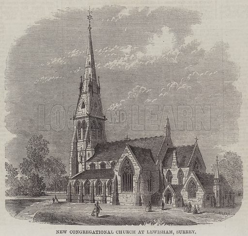 New Congregational Church at Lewisham, Surrey. Illustration for The Illustrated London News, 3 August 1861.