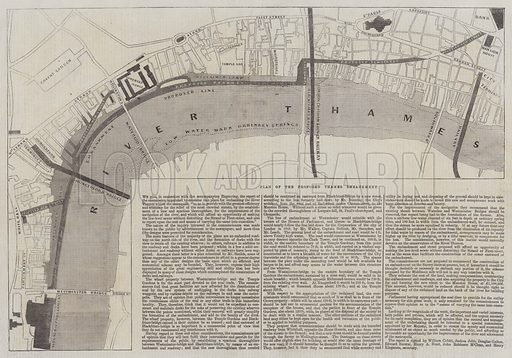 Plan of the Proposed Thames Embankment. Illustration for The Illustrated London News, 10 August 1861.
