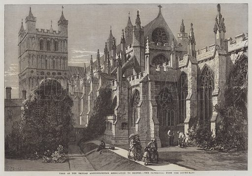 Visit of the British Archaeological Association to Exeter, the Cathedral from the South-East. Illustration for The Illustrated London News, 24 August 1861.