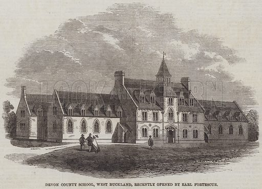 Devon County School, West Buckland, recently opened by Earl Fortescue. Illustration for The Illustrated London News, 9 November 1861.