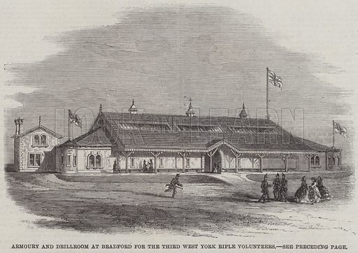 Armoury and Drillroom at Bradford for the Third West York Rifle Volunteers. Illustration for The Illustrated London News, 14 December 1861.