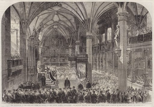 The Coronation of the King and Queen of Prussia in the Castle Church Konigsberg, His Majesty placing the Crown on his Head. Illustration for The Illustrated London News, 2 November 1861.