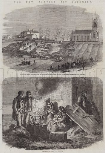 The New Hartley Pit Calamity. Illustration for The Illustrated London News, 8 February 1862.