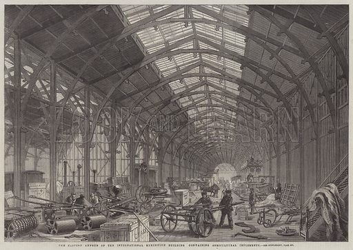 The Eastern Annexe of the International Exhibition Building containing Agricultural Implements. Illustration for The Illustrated London News, 19 April 1862.