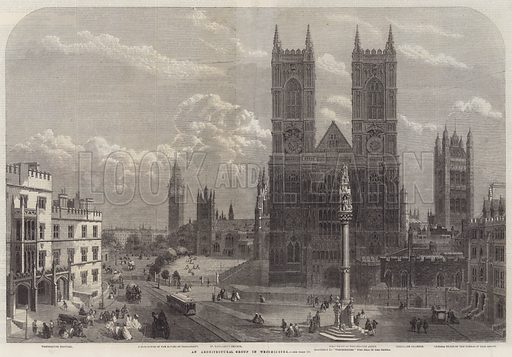 An Architectural Group in Westminster. Illustration for The Illustrated London News, 8 March 1862.