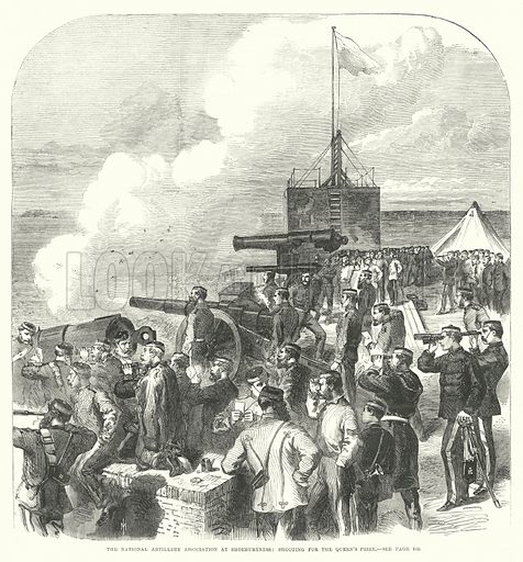 The National Artillery Association at Shoeburyness, shooting for the Queen's Prize. Illustration for The Illustrated London News, 10 August 1867.