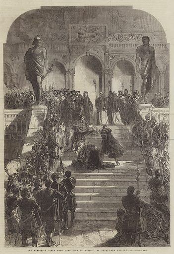"The Execution Scene from ""The Doge of Venice,"" at Drury-Lane Theatre. Illustration for The Illustrated London News, 23 November 1867."