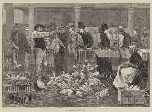 A Michaelmas Goose Fair. Illustration for The Illustrated London News, 4 October 1873.