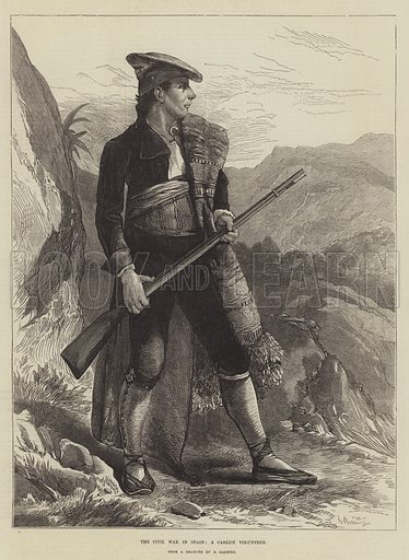 The Civil War in Spain, a Carlist Volunteer. Illustration for The Illustrated London News, 1 November 1873.