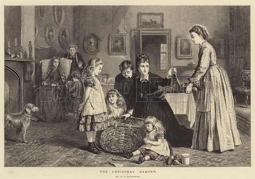 The Christmas Hamper. Illustration for The Illustrated London News, 27 December 1873.