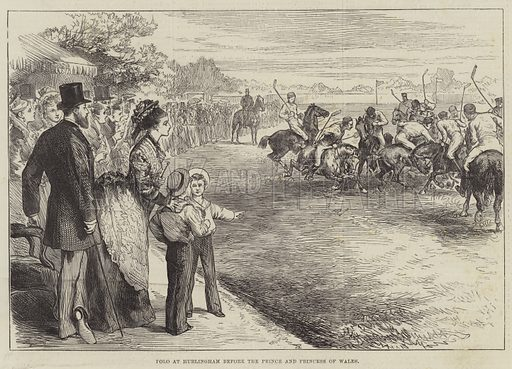 Polo at Hurlingham before the Prince and Princess of Wales. Illustration for The Illustrated London News, 3 July 1875.