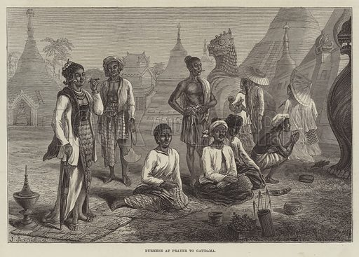 Burmese at Prayer to Gaudama. Illustration for The Illustrated London News, 17 July 1875.
