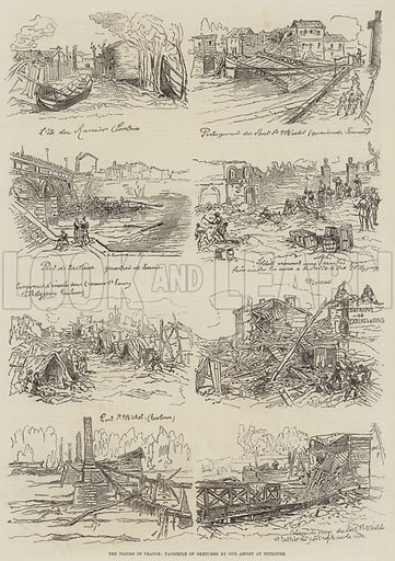 The Floods in France. Illustration for The Illustrated London News, 17 July 1875.