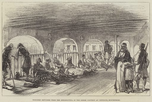 Wounded Refugees from the Herzegovina in the Greek Convent at Cettigne, Montenegro. Illustration for The Illustrated London News, 16 October 1875.