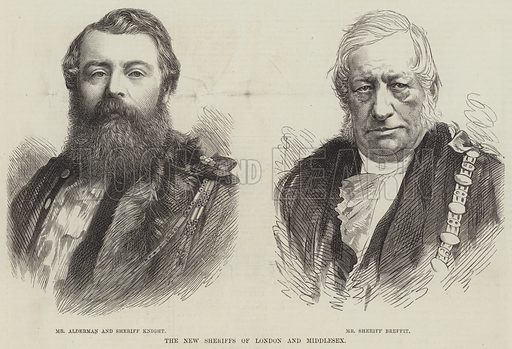 The New Sheriffs of London and Middlesex. Illustration for The Illustrated London News, 13 November 1875.
