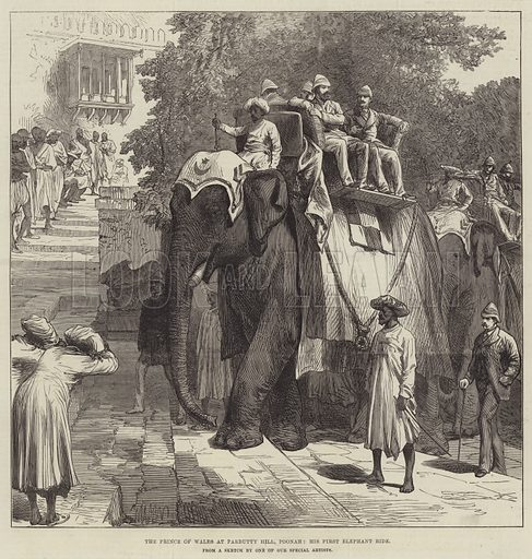 The Prince of Wales at Parbutty Hill, Poonah, his First Elephant Ride. Illustration for The Illustrated London News, 18 December 1875.