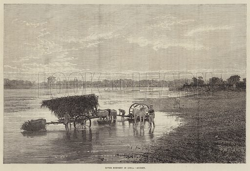 River Scenery in India, Sunset. Illustration for The Illustrated London News, 25 December 1875.