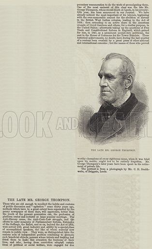 The late Mr George Thompson. Illustration for The Illustrated London News, 19 October 1878.