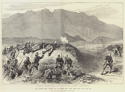 The Afghan War, Attack on Ali Musjid, the First Shot. Illustration for The Illustrated London News, 28 December 1878.
