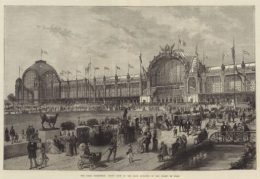 The Paris Exhibition, Front View of the Main Building in the Champ de Mars. Illustration for The Illustrated London News, 20 July 1878.