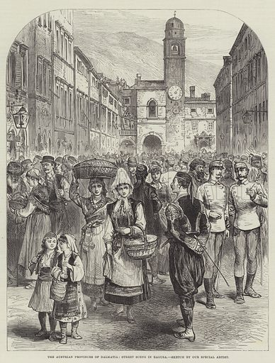 The Austrian Provinces of Dalmatia, Street Scene in Ragusa. Illustration for The Illustrated London News, 31 August 1878.