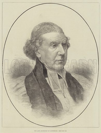 The late Archbishop of Canterbury. Illustration for The Illustrated London News, 16 December 1882.