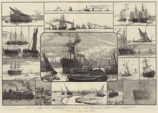Sketches on the Lower Thames. Illustration for The Illustrated London News, 18 November 1882.