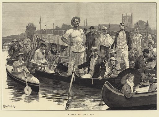 At Henley Regatta. Illustration for The Illustrated London News, 8 July 1882.