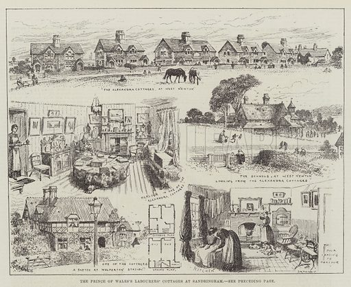 The Prince of Wales's Labourers' Cottages at Sandringham. Illustration for The Illustrated London News, 15 March 1884.