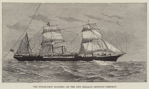 The Steam-Ship Ruapehu, of the New Zealand Shipping Company. Illustration for The Illustrated London News, 31 May 1884.