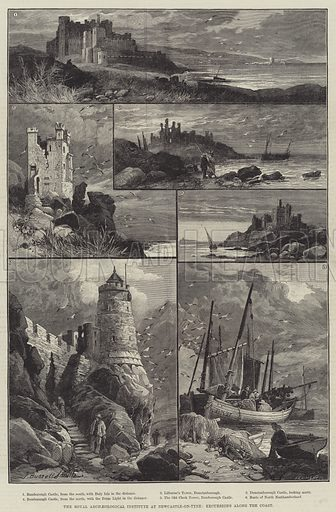 The Royal Archaeological Institute at Newcastle-on-Tyne, Excursions along the Coast. Illustration for The Illustrated London News, 9 August 1884.