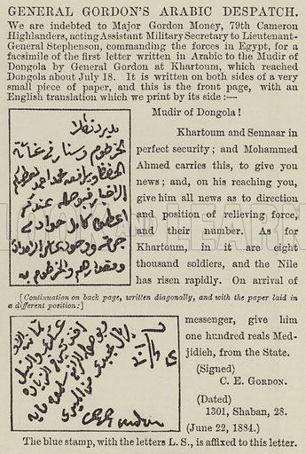General Gordon's Arabic Despatch. Illustration for The Illustrated London News, 13 September 1884.