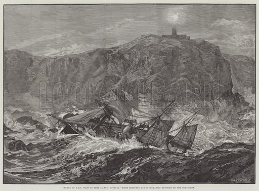 Wreck of HMS Wasp at Tory Island, Donegal. Illustration for The Illustrated London News, 4 October 1884.