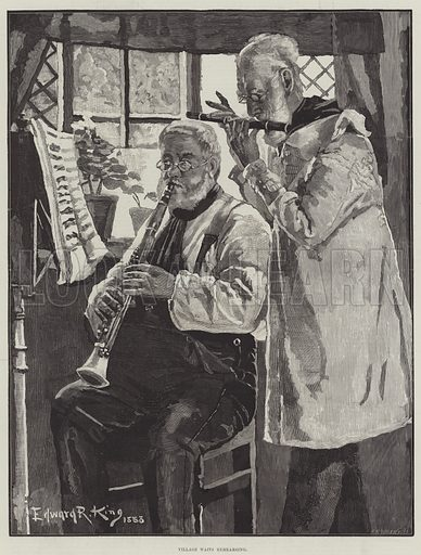 Village Waits Rehearsing. Illustration for The Illustrated London News, 13 December 1884.