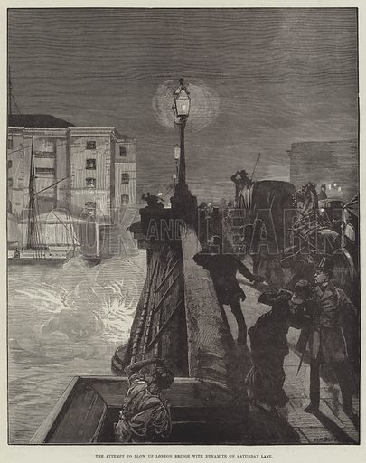 The Attempt to blow up London Bridge with Dynamite on Saturday Last. Illustration for The Illustrated London News, 20 December 1884.
