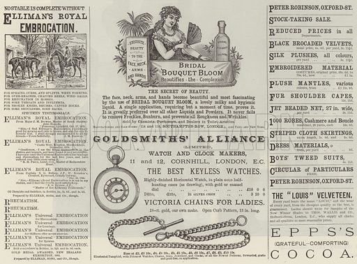 Advertisements. Illustration for The Illustrated London News, 23 January 1886.