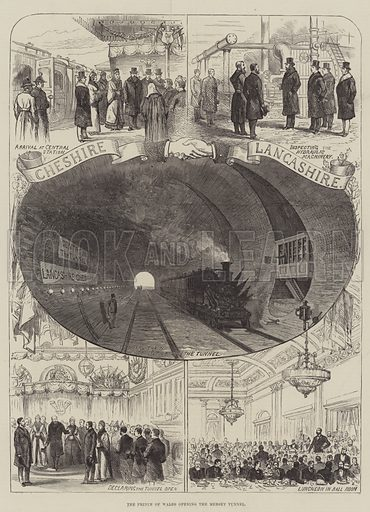 The Prince of Wales opening the Mersey Tunnel. Illustration for The Illustrated London News, 30 January 1886.