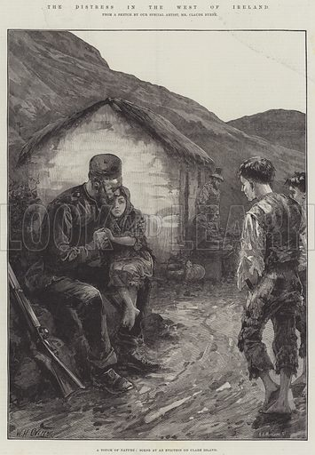 The Distress in the West of Ireland, a Touch of Nature, Scene at an Eviction on Clare Island. Illustration for The Illustrated London News, 10 April 1886.